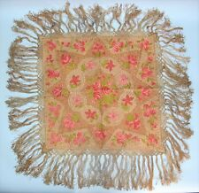 Finest 19th C. FRENCH Meticulously Hand-Stitched SILK EMBROIDERY Textile  c1880s