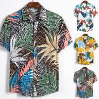 Summer Mens Casual Hawaiian Shirt Short Sleeve Tops Printed Beach T-shirt Tee