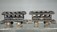 """Two Small 1890s Ives Cast Iron Floor Train Passenger Cars for """"Hero"""" Set - 7"""""""