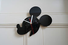 Mickey Mouse design wall clock, made from black plexiglass [S-1]