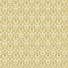 Gold & Cream Damask Wallpaper , Dolls House Miniatures, Wall