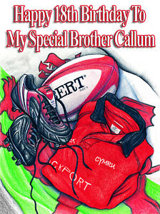 PERSONALISED WELSH RUGBY PLAYER -Humourous- GREETING CARD ANY RELATION - NX25