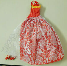 Barbie Red Sparkling Floral Lace Ball Gown with matching Red Shoes
