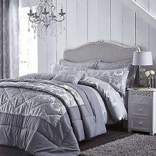 Damask Jacquard Grey Quilt Bedspread Throw Comforter King Size