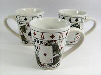 Poker Coffee Mug Cup Playing Cards Set 3 Royal Straight Flush Heart Spade Tall