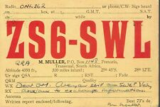 Very old QSL from ZS6-SWL M Muller Pretoria Transvaal South Africa (years 1940)