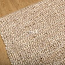 Fair Trade 90x150cm Hand made Leather Jute Rustic Chindi Rag Rug Red Blue Brown