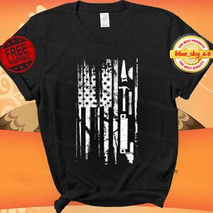 American Flag Woodworking Gift Carpenter Wood Working T-Shirt