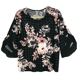 NEW Plus Catherines Black with Pink Flowers Bling Flutter Sleeves Size 0X 14/16W