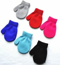 Cotton Blend Solid Color Winter Warm Knitting Mittens Gloves For Child Kids Baby