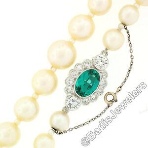 "Vintage 21"" 7-10mm Pearl Strand Necklace w/ Platinum Diamond Green Stone Clasp"