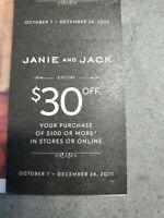 Janie and Jack $30 Off your Purchase of 100 or more Coupon Code Expire 12/24/20