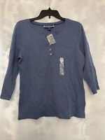 Karen Scott  Women's PL Blue V-Neck 3/4 Sleeves Shirt Top Petite Large NEW