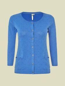 White Stuff Samphire Pure Cotton Cardigan in Blue RRP £45 - SIZE SMALL REDUCED!!