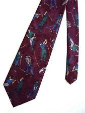 """Town Craft Men's Poly Golf Neck Tie Gold Burgundy Red Classic 3 7/8"""" x 57"""""""