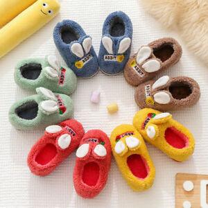 Girls Boys Furry Slippers Kid Sliders Fluffy Fur Mule Children Home Indoor Shoes