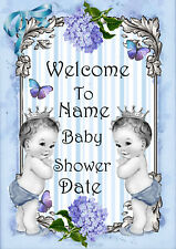 Baby Shower twins- boys Welcome sign print personalised Party decoration - print