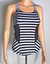 Lululemon Womens Work It Out Tank Top Size 4 Black Purple Striped Athletic Yoga