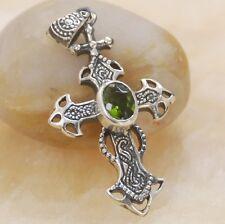 silver pendant Jewelry Bp109 Fantastic Green topaz Cross gemstone