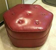 Vintage Mid Century Button Tufted Ottoman Stool Cranberry Hexagon Solid WellMade