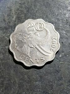 2002 SWAZILAND 20 CENTS COIN ***Cool Elephant Coin*** #2212