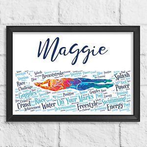 Personalised Swimmer Gift print - Swimming Word Art Wall Print - Birthday Gift