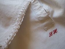 """Antique French Pure Linen Nightdress-Red Monogram """"Lh""""-Hand Crochet Lace-Unused"""