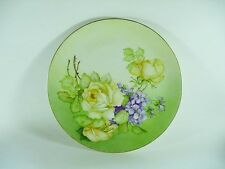 Gladys Rogers Signed Porcelain H/P Plate Made in Germany V Yellow Rose & Violets