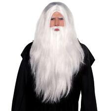 adulto LUNGO MAGO STREGONE PARRUCCA BARBA HALLOWEEN HARRY Babbo Natale Costume