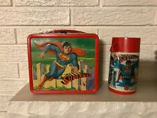 1978 Superman Embossed Metal Lunch Box LUNCHBOX w THERMOS Aladdin