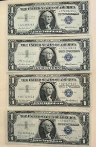 4 X 1957 $1 Silver Certificate - Star Notes- 3-1957 and 1 1957A-Uncirculated *