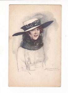 ART DECO GLAMOUR GIRL in HAT  by Artist MAUZAN Vintage postcard c1920-30