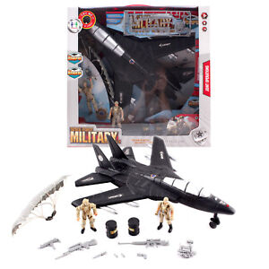 Kid's Toy Black Fighter Jet F16 Army Plane Bomber with Military Soldier Figure