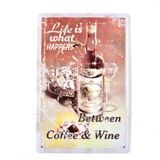 Life is Coffee & Wine Vintage Tin Signs Metal Plate Decor Art Wall Poster