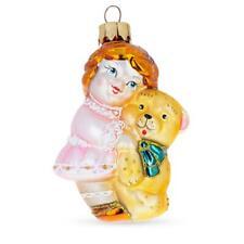 Girl With Teddy Bear Glass Christmas Ornament