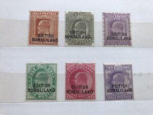 British Somaliland 1903 KEVII Set Of 6 Overprint Stamps, M/H