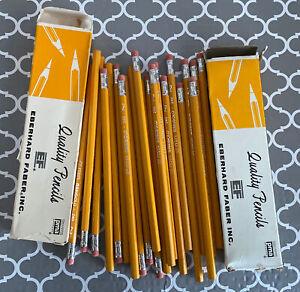 NOS Vintage No. 2 Pencils EF Eberhard Faber Marigold 240 #2, 2 Boxes, 21 Pencils