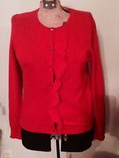 100% Cashmere Women's Cardigan Sweater Size XS Red Ruffle ANN TAYLOR Christmas