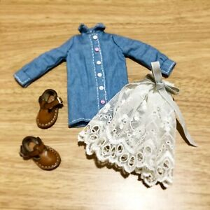 Handmade Doll Clothes shirt dress with skirt For Blythe/OB22/OB24/Licca/Barbie