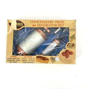Vintage 350-M Cooky In Box Mirro Cookie Pastry Press Complete Discs, Tips USA