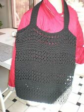 NEW HANDMADE Black Crochet Knit CITY SUMMER / Hobo Bag TOTE CROCHET BAG