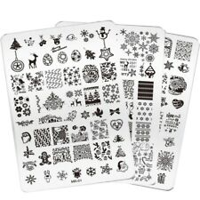 3 x XXL CHRISTMAS NAIL ART STAMPING PLATE SNOWFLAKE STAMP IMAGES DESIGNS PLAT...