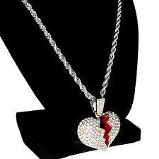 "Broken Heart Pendant Chain Heartbroken Charm Silver Tone 24"" Inch Rope Necklace"