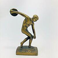 Vintage Art Deco Nude Greek Roman Bronze Olympic Discus Thrower Figure Statue