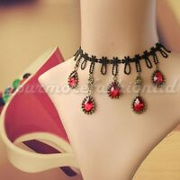 Vintage Handmade Retro Gothic Steampunk Black Lace Red Crystal Necklaces  (BL13)