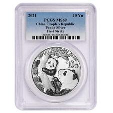2021 10 Yuan Silver China Panda Pcgs Ms69 Fs Blue Label