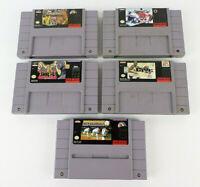 5 (Genuine) SNES Fighting & Sports Super Nintendo TESTED NBA, Baseball, NHL, WWF