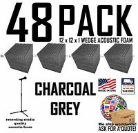 48 pack GREY Acoustic Wedge Soundproof Recording Studio Foam Wall Tile12x12x1
