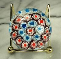 "ITALIAN MILLEFIORI Paperweight Cane ART GLASS 2-1/8"" x 1.75"" tall RED WHITE BLUE"
