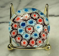 "ITALIAN MURRINA Paperweight Cane ART GLASS 2-1/8"" di 1.75"" tall RED WHITE BLUE"